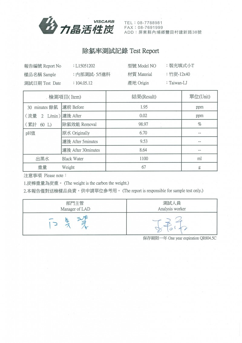 BAC-1240-竹炭濾效檢測